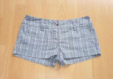 Shorts Hot Pants Low Waist kurze Hose kariert grau schwarz weiß rosa Gr. 34