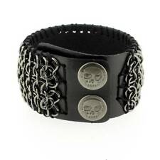 Black Leather Cuff Unisex Bracelet Wristband Skull Rocker Metal Hardware Chain