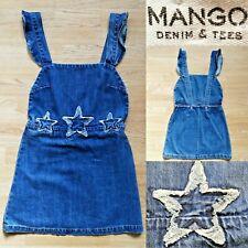 Mango Denim Pinafore Dress UK 8 Star Design Mini Blue Jean Zip Astro Stars