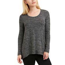 NEW JONES NEW YORK Women's Long Sleeve Knit Top Black Melange S