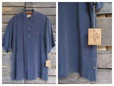 NWT Luau Blue Textured Silk Men's Button Down Shirt Small