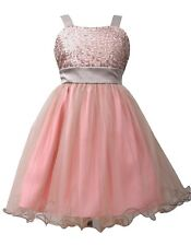 Girls Bonnie Jean Pink Sequin to Tulle dress sizes 7,8,10,12,16 Birthday Holiday
