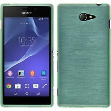 Coque en Silicone Sony Xperia M2 - brushed vert + films de protection