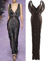TOM FORD YVES SAINT LAURENT Draped Coffee Silk Jersey Sleeveless Gown M