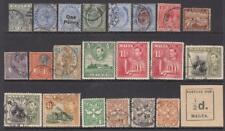 Malta pre-1953 hi val selection 22 diff stamps 49.25