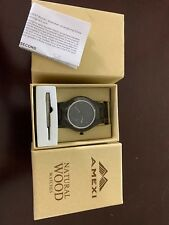 New In Box Amexi Men's Ebony Natural Wood Watch With Quartz Movement. Free Ship