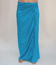 NEW UNISEX PREMIUM QUALITY PLAIN ONE COLOUR SARONG WRAP PAREO TURQUOISE / sa611P