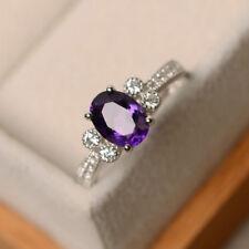 1.65 Ct Natural Diamond Amethyst Ring 14K White Gold Gemstone Band Sets Size N O