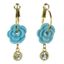 Boucles d'oreilles créoles doré plaqué or chainette cristal fleur résine bleu