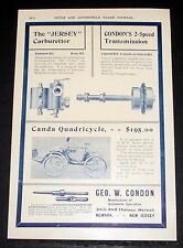 1903 OLD MAGAZINE PRINT AD, CONDON AUTOMOBILE SPECIALITIES, CANDA QUADRICYCLE!