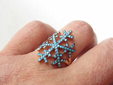 Rose Gold Plated 925 Sterling Silver Turkish Turquoise SNOWFLAKE Ring Sz 8