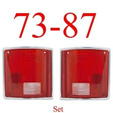 73 87 Tail Light Set With CHROME Trim Chevy GMC Truck Suburban Blazer Jimmy 91