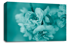 FLORAL FLOWER WALL ART Picture Teal Grey White Blossom Canvas Print SET 1