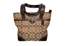 AUTH COACH F13973 HAMPTONS SIGNATURE LUNCH TOTE BROWN SHOULDER BAG *Very Clean*