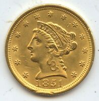 1851 $2 1/2 Gold (#3197) Choice BU with Damage. Carefully Check out the Photos.