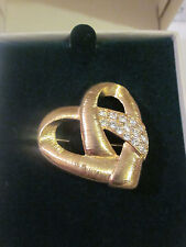 Vintage Beautiful Monet Heart with clear Rhinestones Brooch Pin Like Brand New