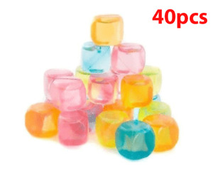 40Pc Plastic Reusable Ice Cubes Pack Mix Coloured Cubes Drinks Party Freezing UK