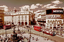 Vieux piccadilly circus london sepia poster A2 t