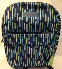 Vera Bradley Navy Blue & Green Multi Color Backpack New Free Shipping