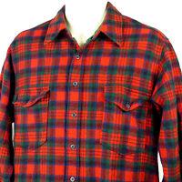 Pendleton Red Macduff Tartan Plaid Shirt Size 17 Pure Virgin Wool Board Vintage