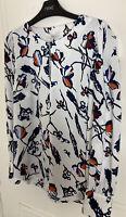 New NEXT White Bird Print Tunic Top Size 12 Shirt Blouse Long Sleeve