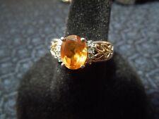 Sterling Silver & 14K Orange Tourmaline & Quartz Two-Tone Filigree Ring, 7 1/2