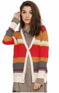 BBC DR Who Fourth Doctor Striped Print Button Down Cardigan Sweater 4th Medium
