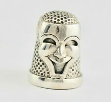 Victorian Style Faces Of Tragedy And Comedy Thimble 925 Sterling Silver