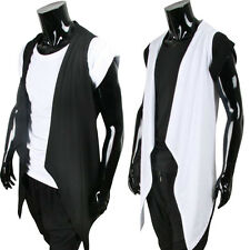 Mens Summer Sleeveless Cardigan Gothic Punk Outwear Slim Thin Fashion Vest Coat