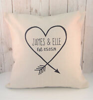 Personalised Wedding Gift  or Anniversary Linen Heart Arrow Cushion