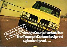 Triumph Dolomite Sprint Design Council Award 1974 UK Market Foldout Brochure