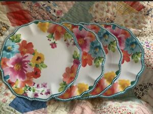 "The Pioneer Woman | Breezy Blossoms Bouquet 4 Dinner Plates Melamine 10.75"" NEW"