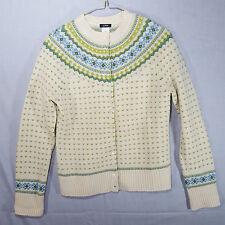 J Crew Cardigan Sweater Pure Lambs Wool Crewneck Nordic Floral Medium Off White