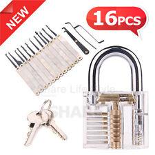 16pcs Clear Practice Transparent Lock Locksmith Training Unlocking Pick Tool Set