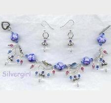 Periwinkle Crystal Drape Link Charm Bracelet and Earrings