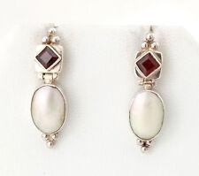 Vtg Sterling Silver Sajen Red Garnet & Mother of Pearl Earrings