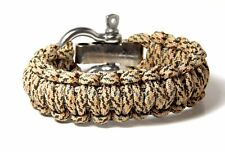 Premium 550 Paracord Survival Bracelet Desert Camo With Stainless Shackle USA