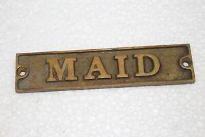 Vintage 1890's Maid Embossed Cast Brass Metal Ocean Passenger Ship Door Sign
