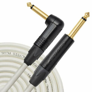 Analysis Plus 10ft WHITE OVAL Guitar / Bass Cable with Straight/Angle Plugs