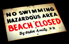 JAWS Large Life-Size  Amity Beach Closed Handmade Distressed Wooden Sign Prop