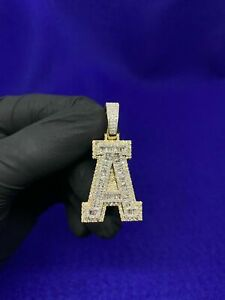 """10K Solid Yellow Gold and 1.875 CT Diamond  Baguette """"A"""" Letter Pendant Charm"""