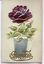 CPA - Carte Postale - Fantaisie - Carte en Relief - Fleurs Rose - 1911 (M7895)