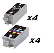 Ora INCHIOSTRO Ltd 8X o 4 Set Compatibile Canon PGI-35 nero & CLI-36 iP100, IP110,
