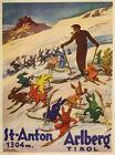 St. Anton Ski Austria Skis Rabbit Arlberg School Vintage Poster Repro FREE S/H