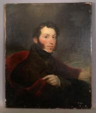 Ca.1820 Antique 19thC American EMPIRE Era GENTLEMAN PORTRAIT Old ESTATE PAINTING