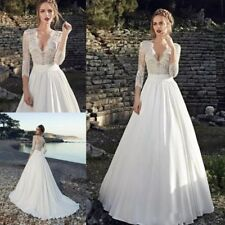 Wedding Dresses Bridal Ball Gowns 3/4 Sleeves Lace V Neck White A Line Casual