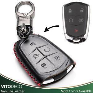 Vitodeco Leather Smart Key Fob Case for Cadillac ATS, CT6, CTS, SRX, XT5, XTS