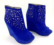 Rachel Roy Womens Suanna Wedge Heel Ankle Boot Size 7 Blue Suede Leather Studded