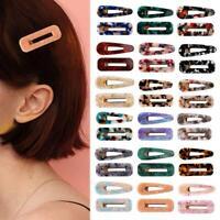 Women Girl Geometric Hollow Acrylic Hair Clips Snap Barrette Stick Hairpin