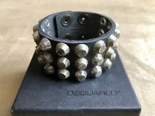 DSQUARED² RUNWAY RARE BLACK LEATHER STUDDED WRISTBAND CUFF BRACELET ARMLET S S
